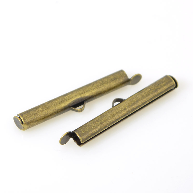 Slide End Tube - 30mm ID 3mm - Antiqued Brass (Pair)