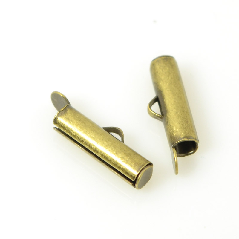 Slide End Tube - 16mm ID 3mm - Antiqued Brass (Pair)