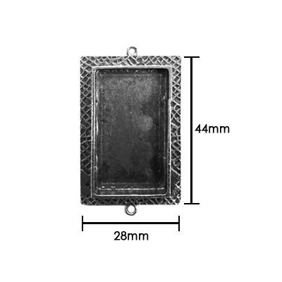 Resin Bezel Tray - Medium Milan Rectangle - Antiqued Silver