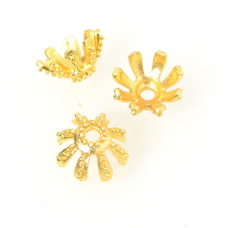 Bead Cap Starry Eyelash ID 9mm - Bright Gold Plated (strand)