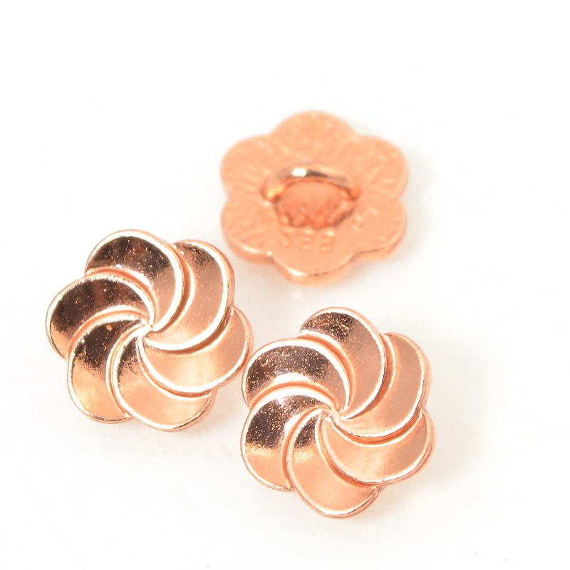 Metal Buttons - Plumeria Swirl - Bright Copper