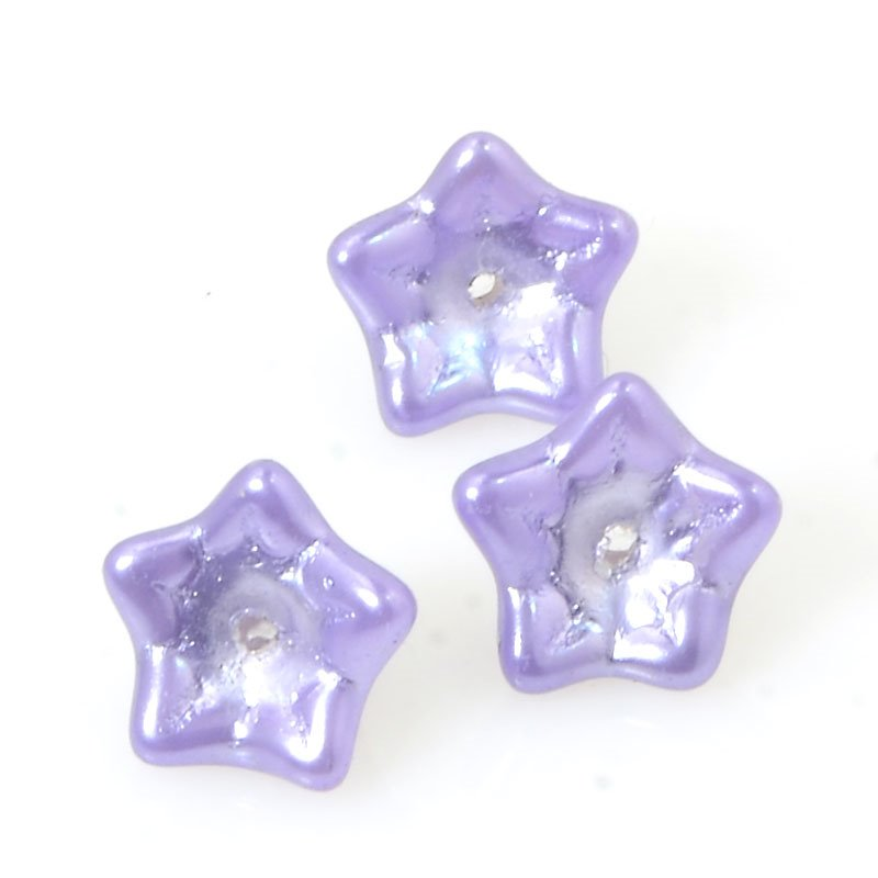 Czech Glass - Starbell Flowers - Pearl Pastel Purple (25)