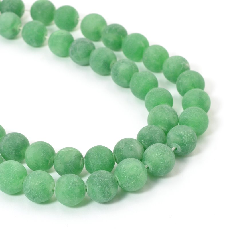 Frosted Glass - 10mm Round Beads - Spearmint (strand)