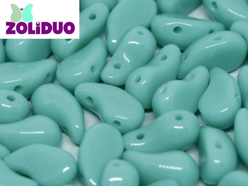 Czech Shaped Beads - 2-Hole Zoliduo - LEFT - Turquoise Green