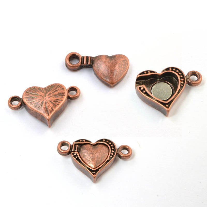 Magnetic Clasp Heart - Antiqued Copper
