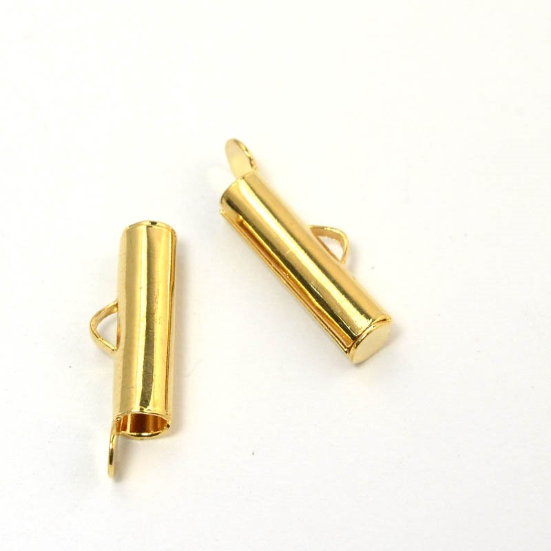 Slide End Tube - 16mm ID 3mm - Bright Gold Plated (Pair)