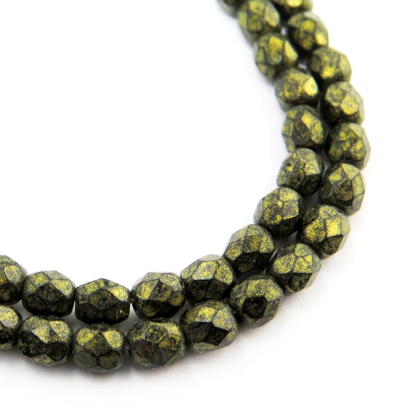 Firepolish - 4mm Faceted Round - Opaque Golden Green Patina (Strand 50)