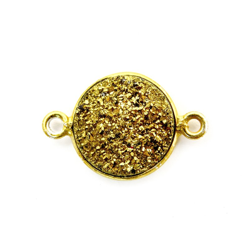 Link - Small Druzy in Bezel Circle - Metallic Gold - Gold Plated