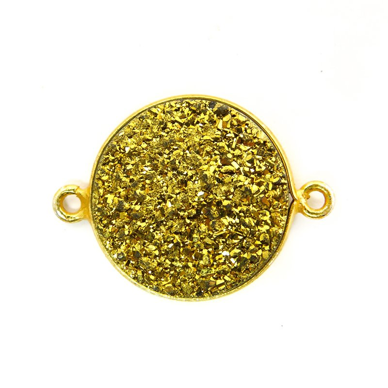 Link - Large Druzy in Bezel Circle - Metallic Gold - Gold Plated