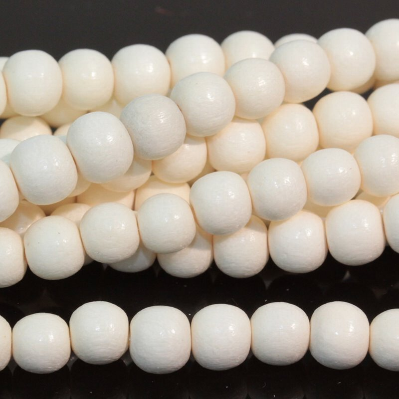 Wood Beads - 6mm Round - White Wood (strand)