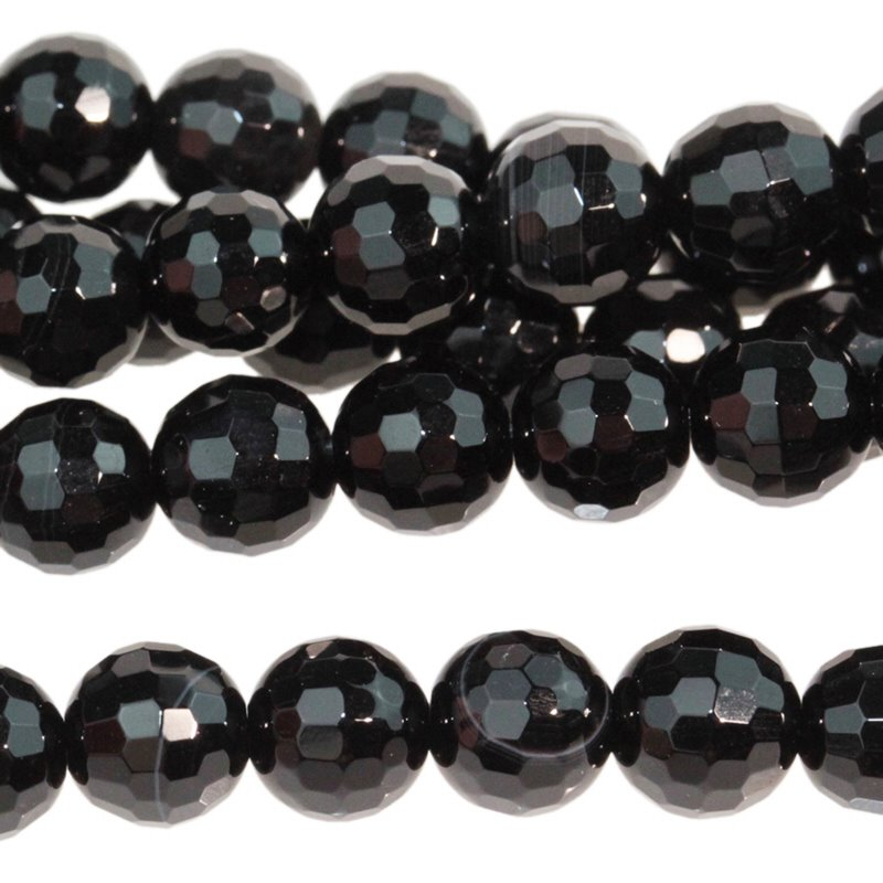 Stone Beads - 6mm Faceted Round - Onyx (strand)