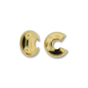 Crimp Bead Covers Smooth 6mm - Gold Plated (24)