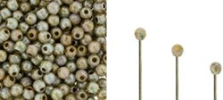 Wire End Cap - Finial Half-Drill Round End Bead - Green Ultra Lustre