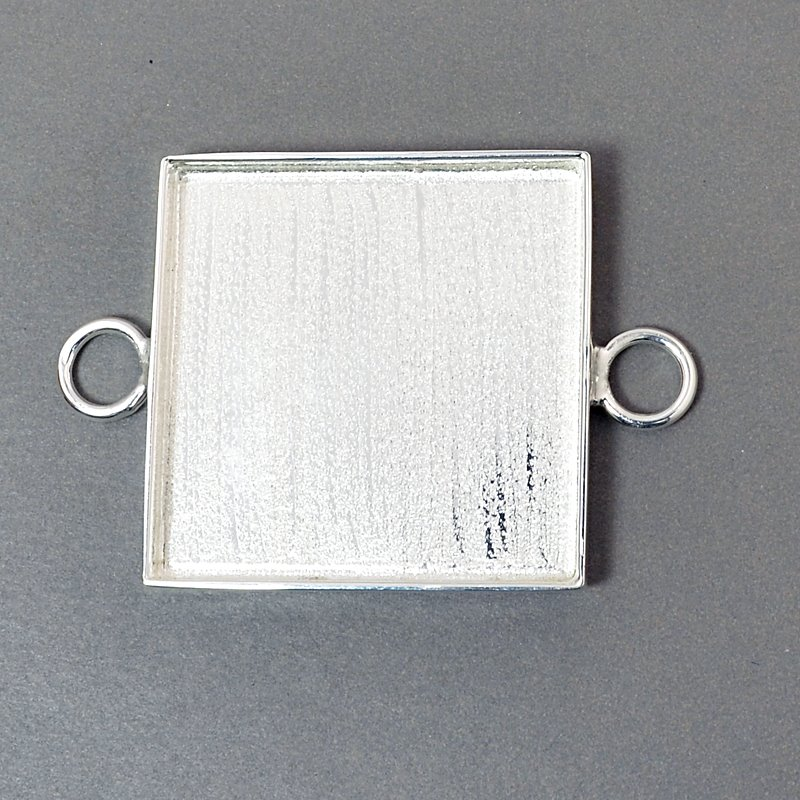Resin Bezel Tray - 31mm Square Link - Bright Silver
