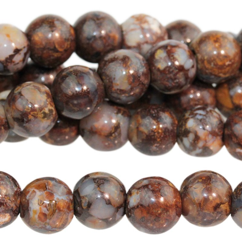 Stone Beads - 8mm Big Hole Round - Fire Opal (strand)
