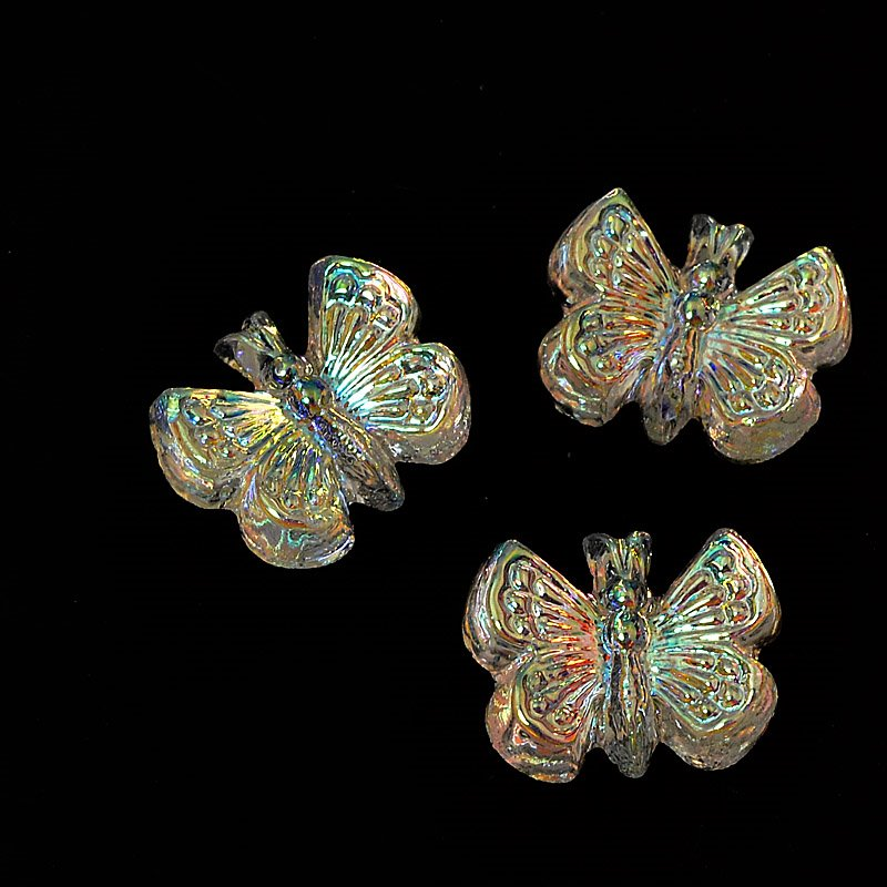 Glass Cabochon - 9.5mm Butterfly - Crystal AB (5)