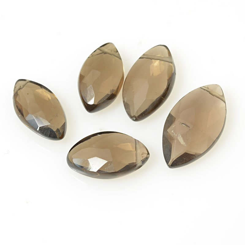 Stone Beads - Limited Edition - Faceted Pointed Ovals - Smokey Quartz (5)