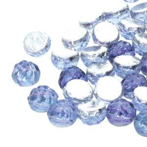 Czech Shaped Beads - 7mm 2-Hole Baroque Cabs - Backlit Violet Ice (10 grams)