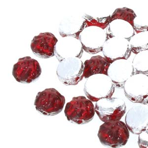 Czech Shaped Beads - 7mm 2-Hole Baroque Cabs - Backlit Rubysol (10 grams)