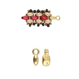 Cymbal Finding - Vourkoti - Superduo Bead Ending - Gold Plated (6)