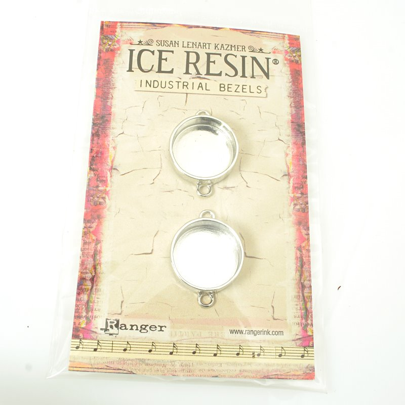 Resin Bezel Tray - Small Industrial Style - Circle - Imitation Sterling (Pack)