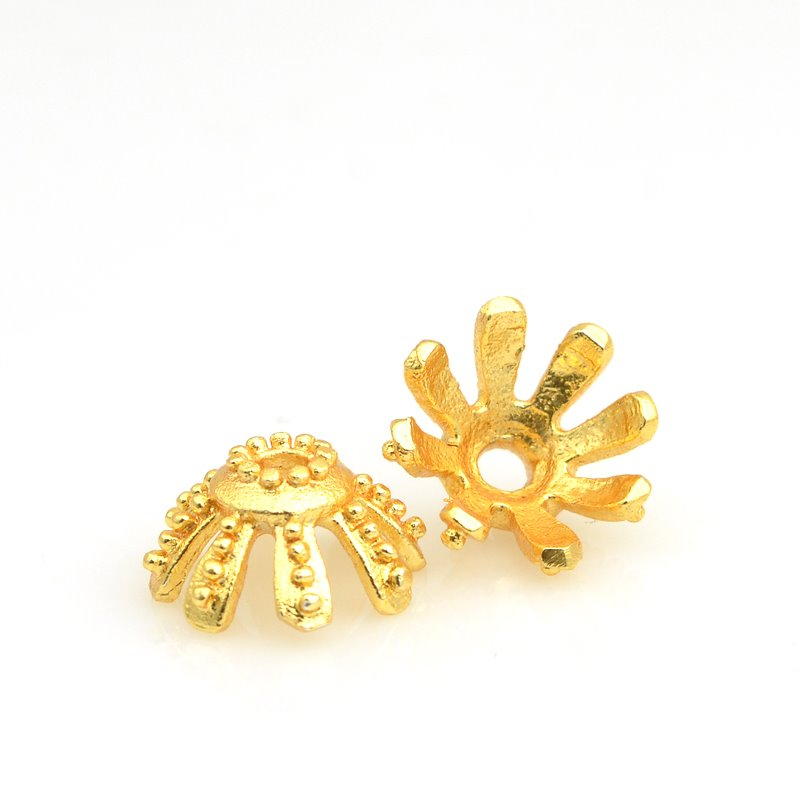 Bead Cap Starry Eyelash 14mm - Bright Gold Plated