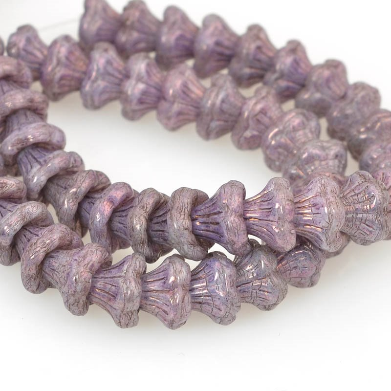 Glass Flower Beads Flared Cup Pressed Bell 7x5mm - Purple Luster (25)