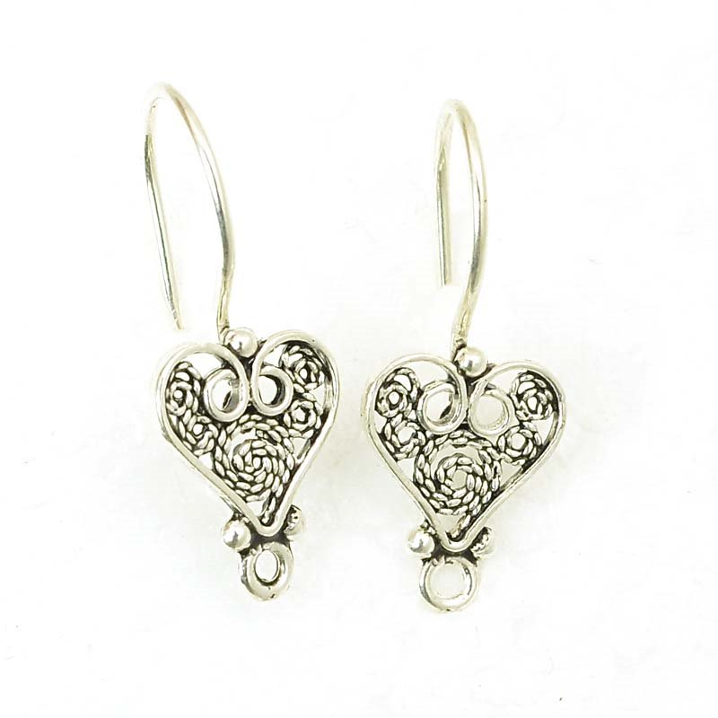 Earring - Earwire with Filigree Heart - Sterling Silver (Pair)