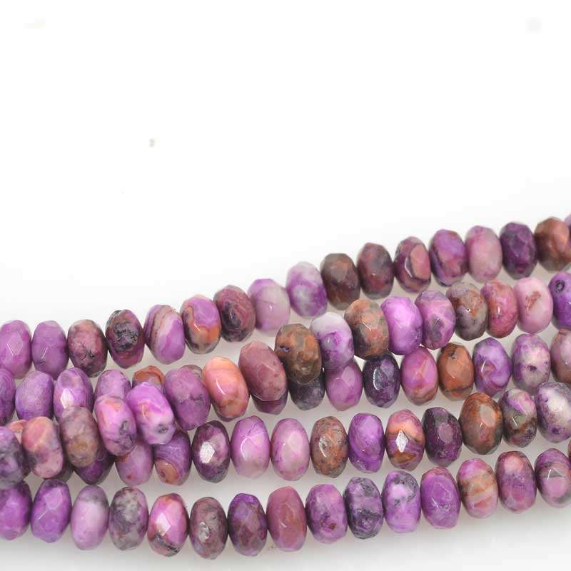 Stone Beads - 8mm Faceted Rondelles - Purple Crazy Lace (strand)