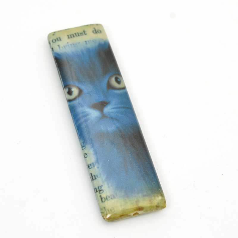 Decoupage Picture Beads - 70mm Rectangle Pendant - Russian Blue Cat