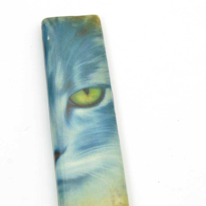 Decoupage Picture Beads - 70mm Rectangle Pendant - Blue Tabby Cat
