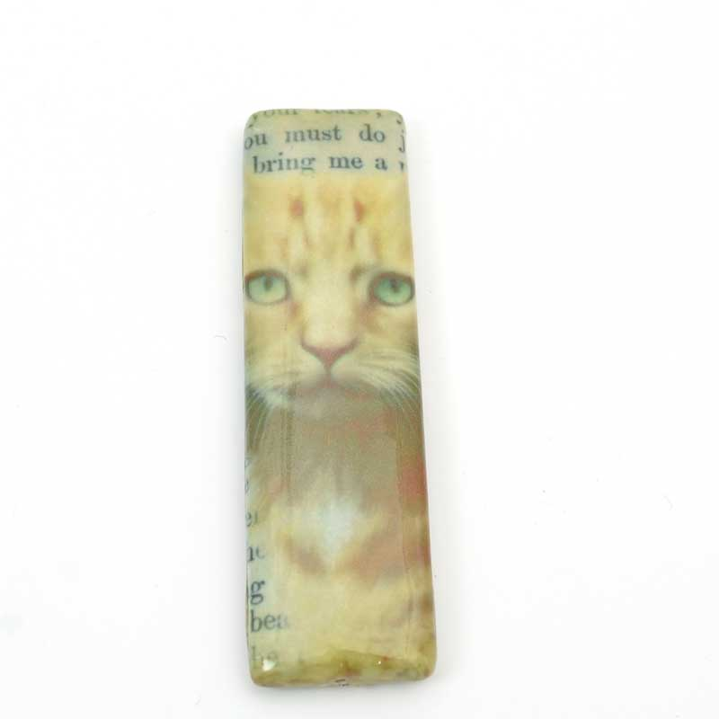 Decoupage Picture Beads - 70mm Rectangle Pendant - Ginger Tabby Cat