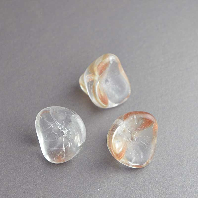 Glass Flower Beads Trumpet Lily 12x8mm - Crystal Goldstone (Pack)