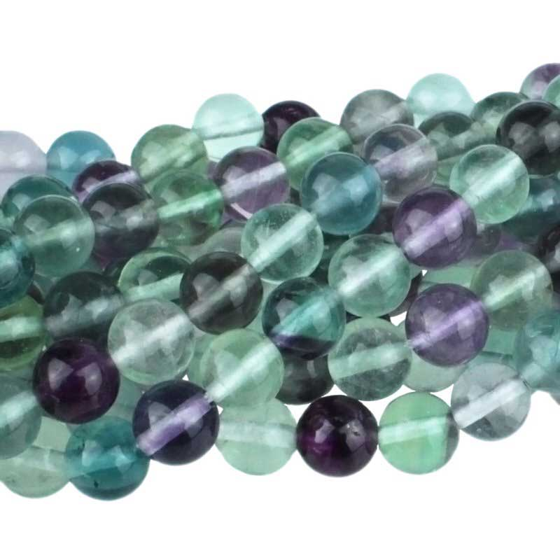 Stone Beads - 8mm Round - Mixed Fluorite (strand)