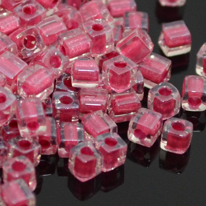 Miyuki - 3mm Japanese Cubes - Colour Lined Sparkling Crystal/Deep Rose