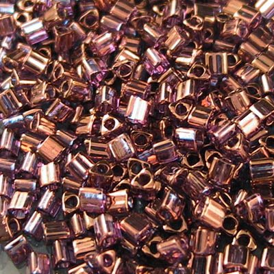Japanese Seedbeads - 11/0 Toho Triangles - Gold Lustered Light Raspberry