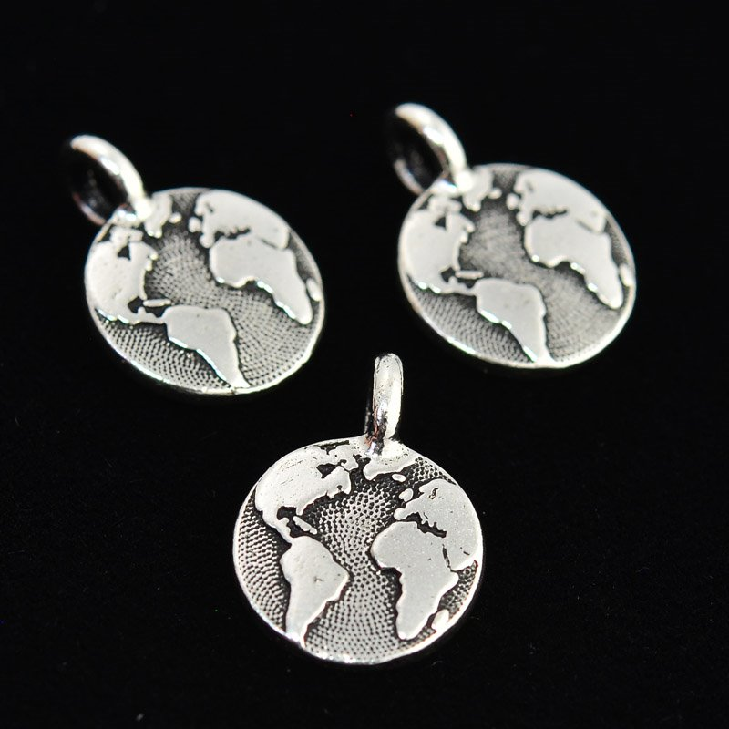 Charm - Earth Charm - Antiqued Silver