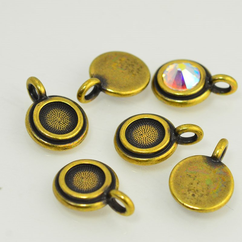 Metal Charm - Stepped Bezel for SS34 - Brass Oxide