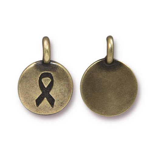 Charm - Awareness Ribbon Charm - Brass Oxide