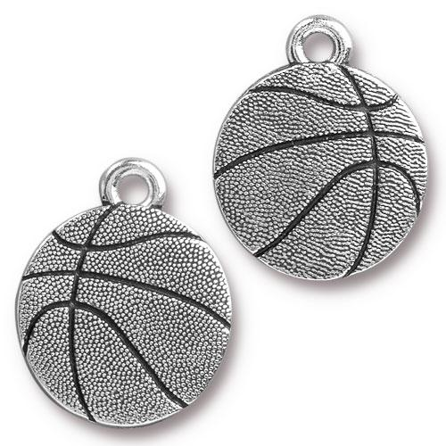 Charm - Basketball - Antiqued Silver