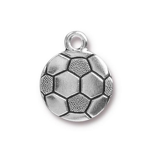 Charm - Soccer Ball - Antiqued Silver