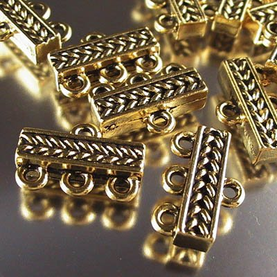 Findings - Connector - 1:3 Braided Bar - Antique Gold