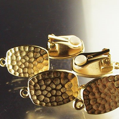 Earring - Hammered Rectangle Clip-Ons - Bright Gold (Pair)