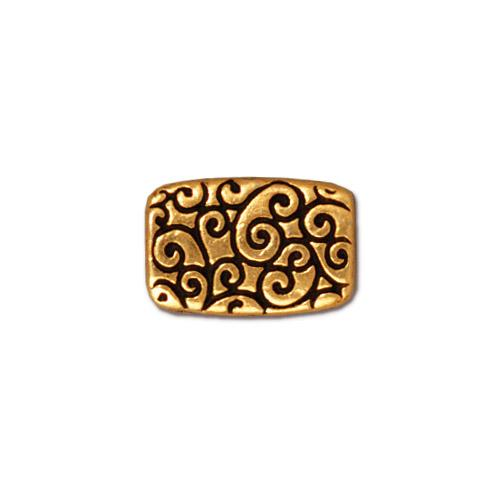 Metal Bead - 9x13mm Scroll Rectangle - Antique Gold