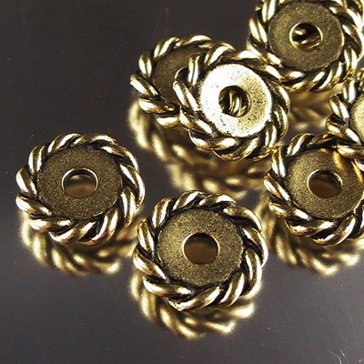 Metal Beads - Big Hole - 12mm Large Hole Twisted Rope Spacer - Antique Gold