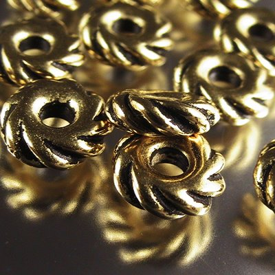 Metal Beads - Big Hole - 10mm Large Hole Wide Twisted Rope Spacer - Antique Gold