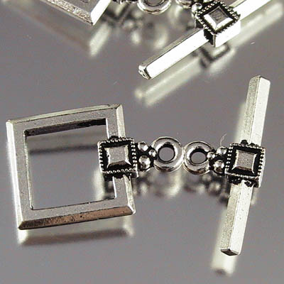 Toggle Clasp - 12mm Deco Square - Antiqued Silver