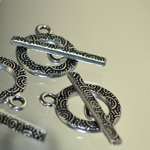 Toggle Clasp - Spirals Ring and Bar - Antique Silver