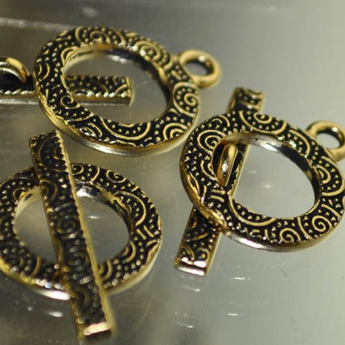 Toggle Clasp - Spirals Ring and Bar - Antique Gold