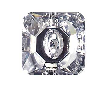 20730171003001 Swarovski Crystal Button - 12mm 3017 Square - Crystal Moonlight Foiled